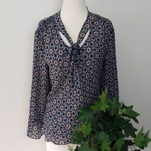 Passports Tie Neck Long Sleeve Patterned Blouse